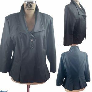 Isaac Mizrahi Cropped Sleeve Pleated Suit Jacket